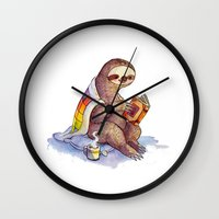 sloth Wall Clocks featuring Sloth by KteaCrumpet