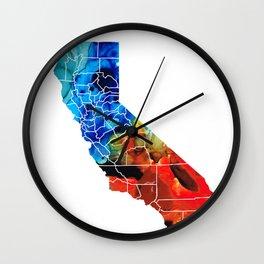 California - Map Counties by Sharon Cummings Wall Clock