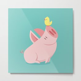 Big pig and the singing bird Metal Print
