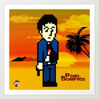 scarface Art Prints featuring Pixel Scarface by Rapsmyinitials