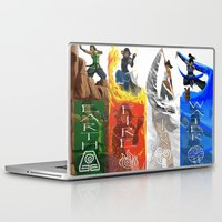 the legend of korra Laptop & iPad Skins featuring Legend of Korra Elements by paulovicente