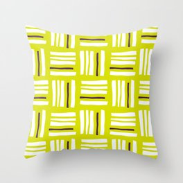 Stripes×Checkered Pattern__Lime Green&Purple Throw Pillow