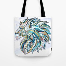 Zentangle head of the lion on the grunge background Tote Bag