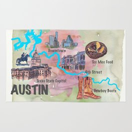 Austin Texas Favorite Map with touristic Top Ten Highlights in Colorful Retro Style Rug