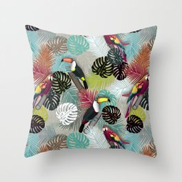 Tropical Birds (Color 2 - Bold) Throw Pillow