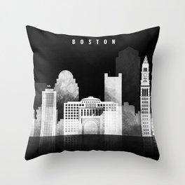 Boston - Black and White Skyline арт work Throw Pillow