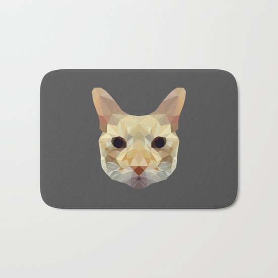 geometric cat head Bath Mat