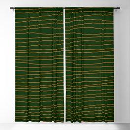 Hand Drawn Lines - Orange / Dark Green Blackout Curtain