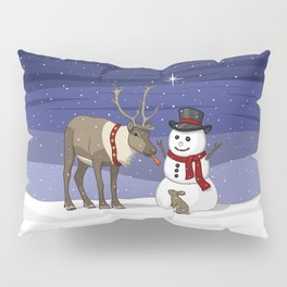 Santa's Reindeer Giving Snowman's Carrot Nose To Bunny Pillow Sham