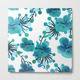 Turquoise Flower Delight Metal Print