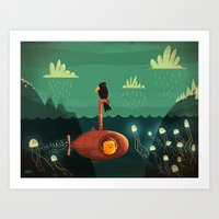 submarine Art Prints featuring Submarine by Ilias Sounas