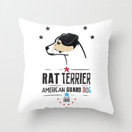 Rat Terrier: American Guard Dog Throw Pillow