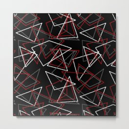 Abstract red black and white pattern . Triangles Metal Print