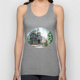 Blue House on a Grey Day Unisex Tank Top