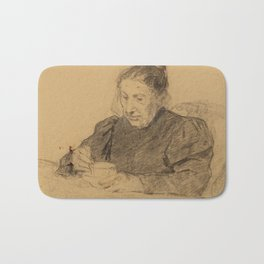 ANKER, ALBERT (1831 Ins 1910) Woman seated at a table drinking coffee Bath Mat