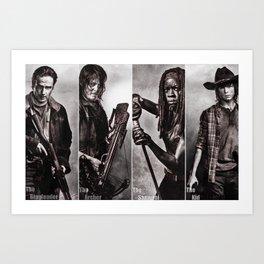 The Walking Dead - Rick Daryl Michonne Carl  Art Print