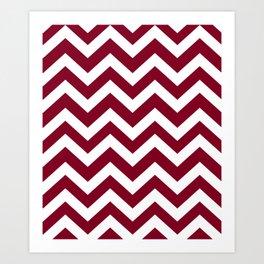 Oxblood - purple color -  Zigzag Chevron Pattern Art Print