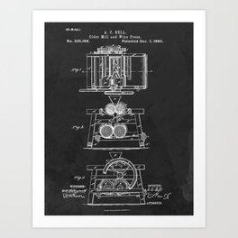 Cider Mill And Wine Press 1880 Patent Art Print