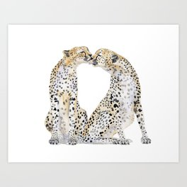 cheetah kiss two Art Print