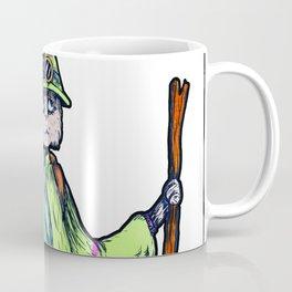 Green Kitty Hiker Coffee Mug