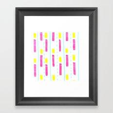 Pink and Lemon Stripes  Framed Art Print
