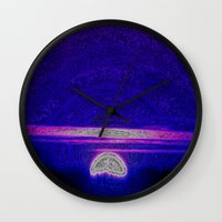 moonrise Wall Clocks featuring Moonrise by RingWaveArt