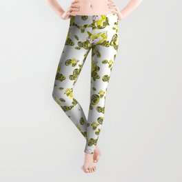 lucky yellow bubble cow with gold coins pattern Leggings