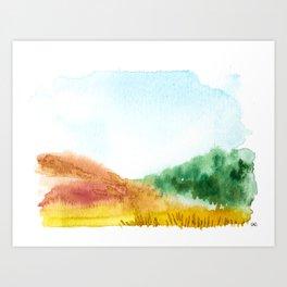 watercolor abstract landscape // arizona in fall sedona orange leaves Art Print