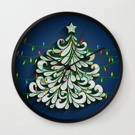 Christmas tree with colorful lights Wall Clock