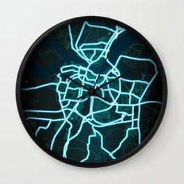Aalborg, Denmark, Neon, Glow, City, Map Wall Clock