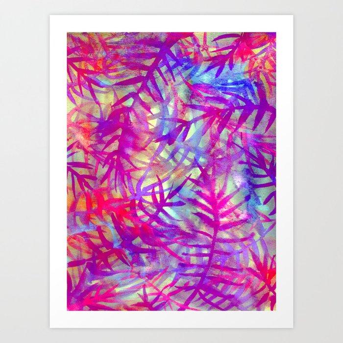 Electric Palms - Pink Art Print
