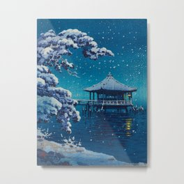 Tsuchiya Kôitsu Japanese Woodblock Vintage Print Blue Winter Snow Pagoda On Lake Metal Print