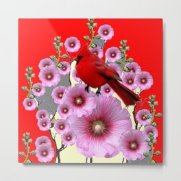 MODERN  RED ART PINK HOLLYHOCKS & RED CARDINAL BIRD Metal Print