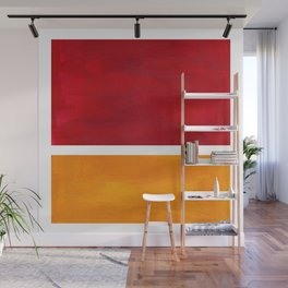 Burnt Red Yellow Ochre Mid Century Modern Abstract Minimalist Rothko Color Field Squares Wall Mural