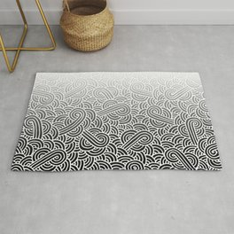 Faded black and white swirls doodles Rug
