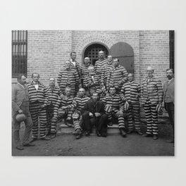 Vintage Prisoners In Striped Uniforms - 1889 Canvas Print