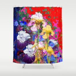 Decorative Spring  Garden Yellow & Pink Iris in Blue-Red Shower Curtain