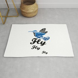 Flying Bird with Clouds Rug