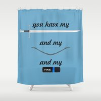 lord of the rings Shower Curtains featuring You Have - Lord of The Rings by Cristiano Ávila Salomão