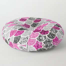 Pink, Silver and Cranberry Mermaid Scales Pattern Floor Pillow