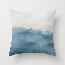 Ocean Blue Waves Soft Pink Peach Sunrise Nautical Sea Sailing Abstract Nature Painting Art Print Wall Decor  Throw Pillow