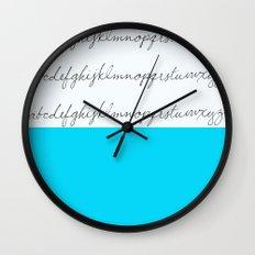 Alphabet-Turquoise  Wall Clock