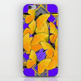 YELLOW BUTTERFLIES SWARMING PURPLE ART iPhone Skin
