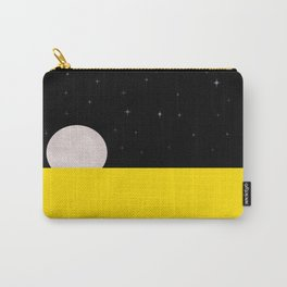Black night with stars, moon, and yellow sea Carry-All Pouch
