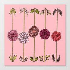 Garden Flowers Illustration - in Pinks Canvas Print