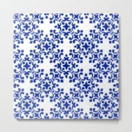 Sapphire Blue Vintage Brocade Damask Metal Print