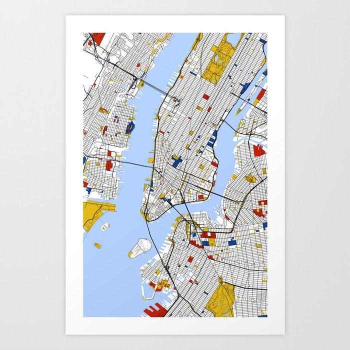 City Map Of New York.New York City Map Art Print Street Map Art Art Print By Mondrianmapart