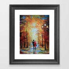 romantic autumn stroll Framed Art Print