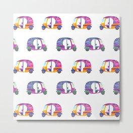 Funky rickshaws pattern Metal Print