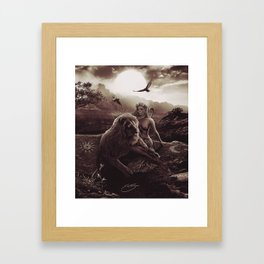 VIII. Strength Tarot Card Illustration (Warmth) Framed Art Print